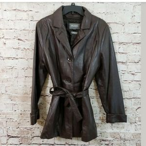 Wilson Womens Brown Leather Jacket Coat Large